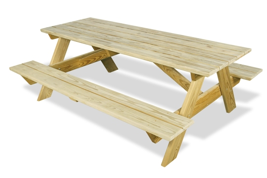 Ourdoor Furniture - Long Picnic Table Attached Benches