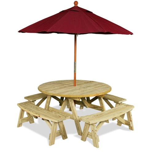 Round Table Rounded Benches Umbrella