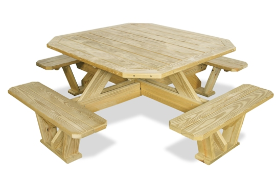 Square Table Attached Benches