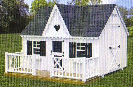 Playhouse 8x10 Deck and Wood Railing
