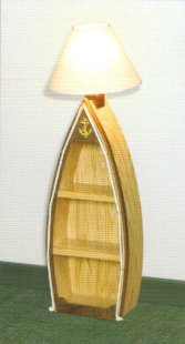 Rowboat Bookcase with Lamp