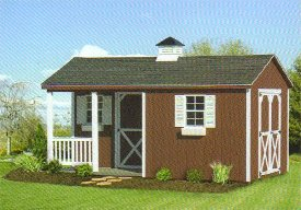 Wood A-Frame Shed with Porch